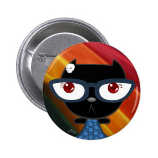 Kats With Glassez Blacky Kat Button