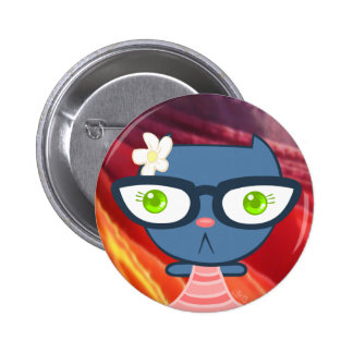 Kats With Glassez Blu Kitty Button