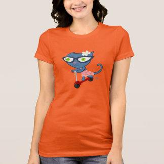 Kats With Glassez : Blu Kitty Scooter Shirt