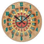 Katsina Feathered Sun Face Wall Clocks