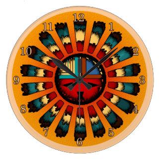 Katsina (Kachina) Feathered Sun Face Large Clock
