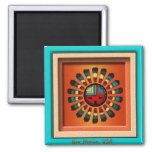 Katsina Sun Face 2 Inch Square Magnet