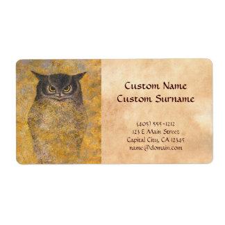 Katsuda Yukio Owl japanese oriental fine art Shipping Label