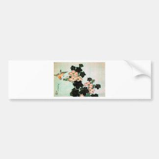 Katsushika Hokusai (葛飾北斎) - Hibiscus and Sparrow Bumper Sticker