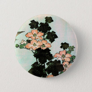 Katsushika Hokusai (葛飾北斎) - Hibiscus and Sparrow Button