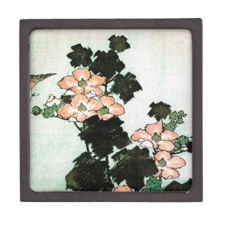 Katsushika Hokusai (葛飾北斎) - Hibiscus and Sparrow Jewelry Box