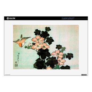 Katsushika Hokusai (葛飾北斎) - Hibiscus and Sparrow Laptop Skins