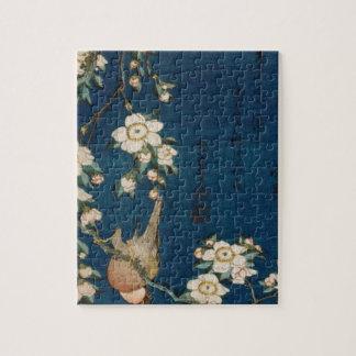 Katsushika Hokusai 葛飾 北斎 Goldfinch and Cherry Tree Jigsaw Puzzle