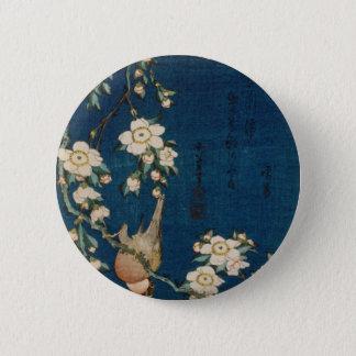 Katsushika Hokusai 葛飾 北斎 Goldfinch and Cherry Tree Pinback Button