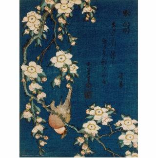 Katsushika Hokusai 葛飾 北斎 Goldfinch and Cherry Tree Statuette