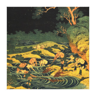 Katsushika Hokusai - Fishing by Torchlight in Kai Canvas Print