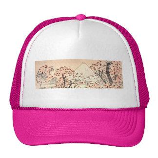 Katsushika Hokusai Flowers Pink Mount Fuji Vintage Hats