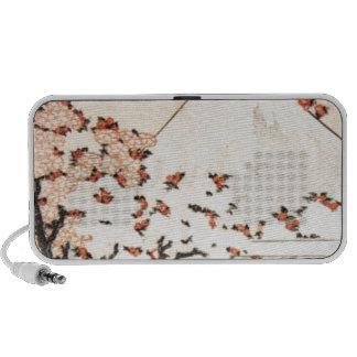 Katsushika Hokusai Flowers Pink Mount Fuji Vintage Travel Speakers