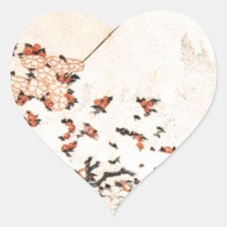 Katsushika Hokusai Flowers Pink Mount Fuji Vintage Heart Sticker