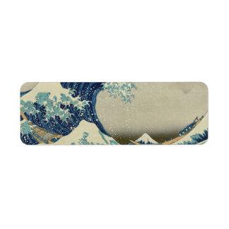 Katsushika Hokusai: La gran onda en Kanagawa Etiquetas De Remite