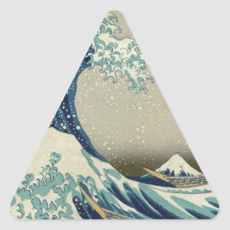 Katsushika Hokusai: La gran onda en Kanagawa Pegatina Triangular