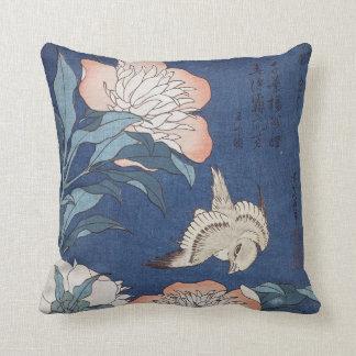 Katsushika Hokusai Peonies and Canary Throw Pillow