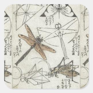 Katsushika Hokusai's Insects Square Stickers