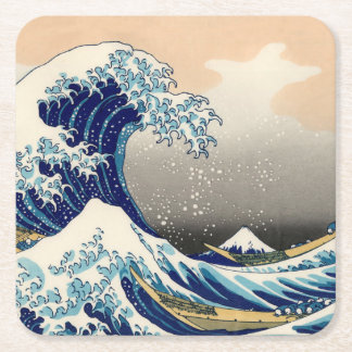 KATSUSHIKA HOKUSAI - The great wave off Kanagawa Square Paper Coaster