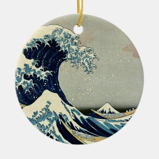 Katsushika Hokusai's Great Wave off Kanagawa Double-Sided Ceramic Round Christmas Ornament