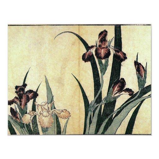 "Katsushika Hokusai's Irises 4.25"" X 5.5"" Invitation Card"