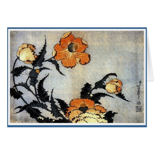 Katsushika Hokusai's Poppies Greeting Card
