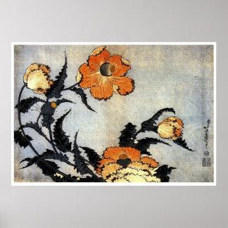 Katsushika Hokusai's Poppies Poster