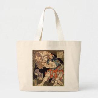 Katsushika Hokusai's 'Sumo Wrestlers' Totebag Canvas Bags