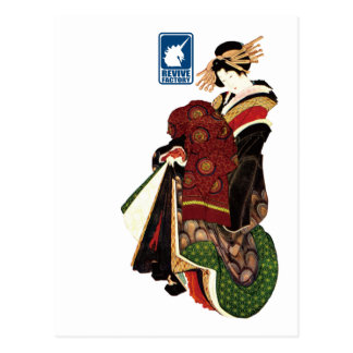 Katsushika north 斎 harlot figure (blue) postcard