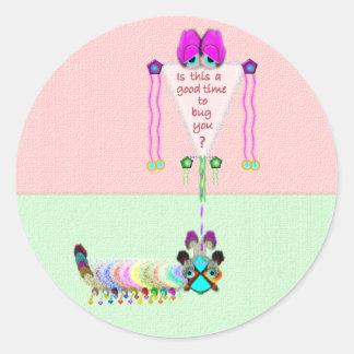 Katter Pella Caterpillar Stickers-20 per sheet Classic Round Sticker