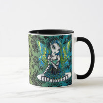 green, tattoo, fairy, cup, mug, coffee, faery, fae, faerie, fairies, pixie, cute, adorable, myka, jelina, fantasy, art, katy, emo, tutu, ballerina, acrylic, Mug with custom graphic design