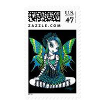 green, tattoo, fairy, faery, fae, faerie, fairies, pixie, cute, adorable, myka, jelina, fantasy, art, katy, emo, tutu, ballerina, faeries, Stamp with custom graphic design
