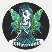green, tattoo, fairy, faery, fae, faerie, fairies, pixie, cute, adorable, myka, jelina, fantasy, art, katy, emo, tutu, ballerina, characters, Sticker with custom graphic design