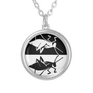 Katydid design 2 black and white silver plated necklace