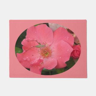 Katydid on Pink Rose Doormat