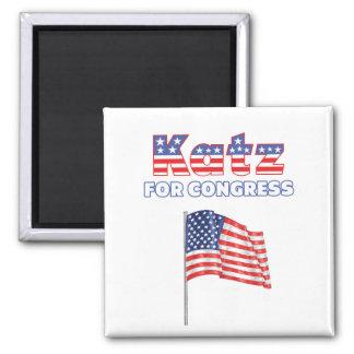 Katz para el diseño patriótico de la bandera ameri imán cuadrado
