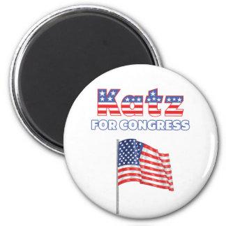 Katz para el diseño patriótico de la bandera ameri imán redondo 5 cm