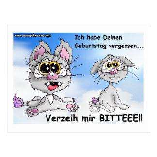 katze cat, geburtstag, happy birthday, postkarte postal