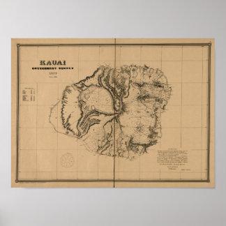 Kauai, 1878, mapa de Hawaii del vintage Póster