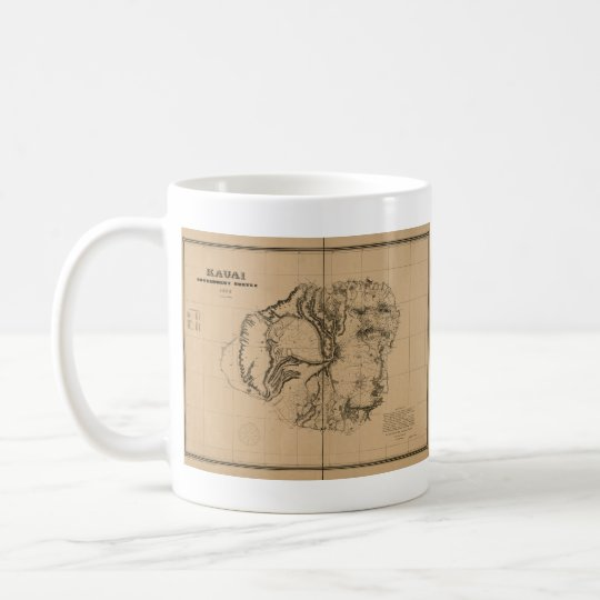 Kauai, 1878, Vintage Hawaii Map Coffee Mug