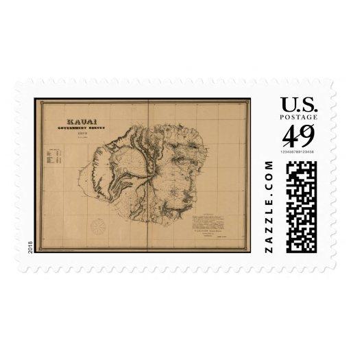 Kauai, 1878, Vintage Hawaii Map Postage Stamp