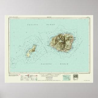 Kauai--1954 Map Poster