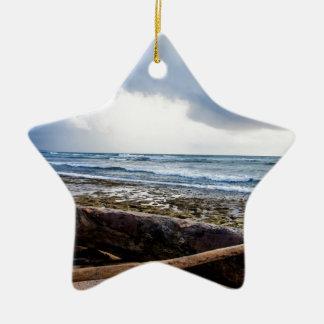 Kauai beach with driftwood Double-Sided star ceramic christmas ornament