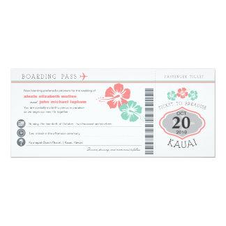 Kauai Hawaii Hibiscus Boarding Pass Wedding Card