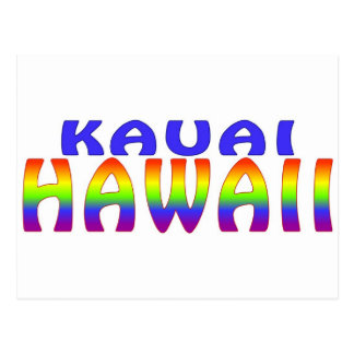 Kauai Hawaii rainbow words Postcard