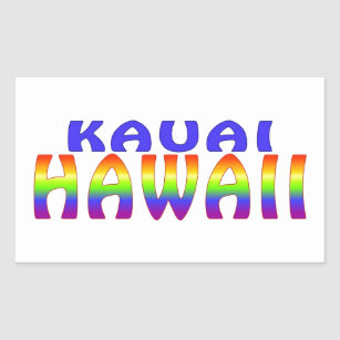 Kauai Hawaii rainbow words Rectangular Sticker