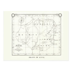 Kauai Island, Hawaii, Vintage Map 1887 Postcard at Zazzle