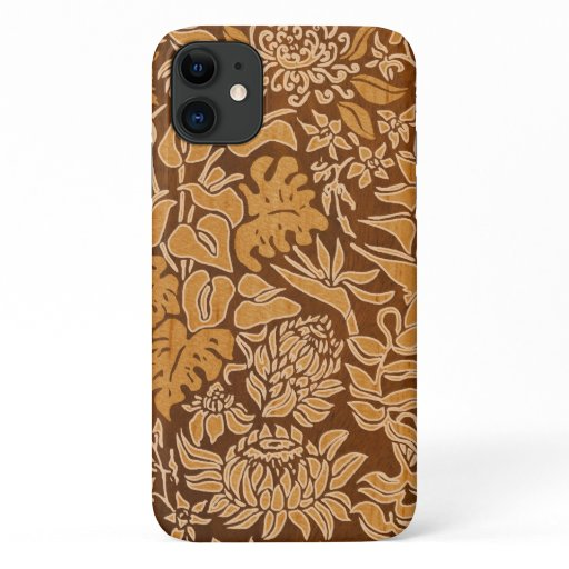 Kauai Morning Hawaiian Protea Faux Wood Floral iPhone 11 Case