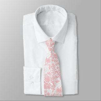 Kauai Morning White Hawaiian Floral Silver Guava Neck Tie