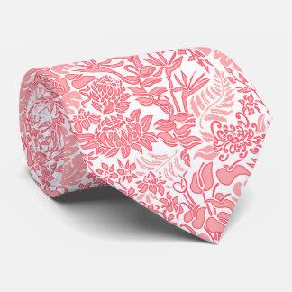Kauai Morning White Hawaiian Floral Soft Guava Neck Tie